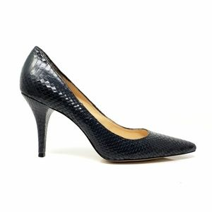 Talbots Navy Alligator Embossed Leather Heels